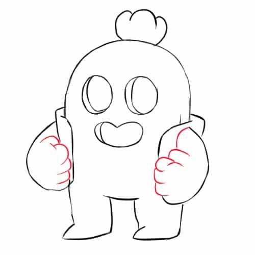 Как нарисовать Спайка из Бравл Старс - шаг 7