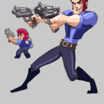 Арт Кольт с пистолетами